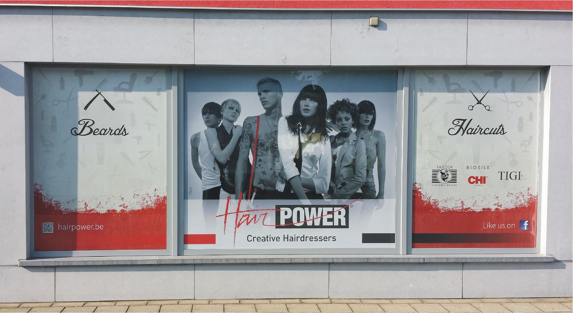 etalage bedrukking - foto hairpower - homepagina met melding etalage belettering